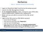kerberos step 5 validate kerberos functionality
