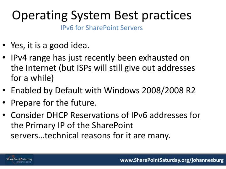 Operating System Best practices