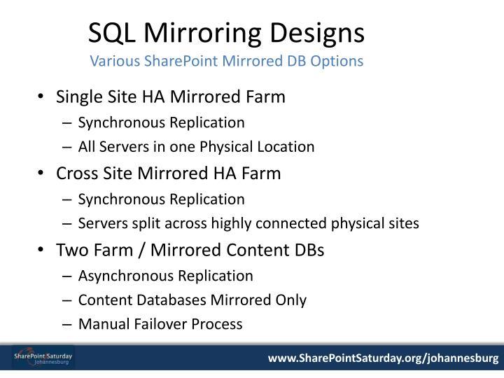 SQL Mirroring Designs