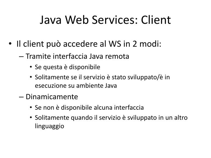 Java Web Services: Client