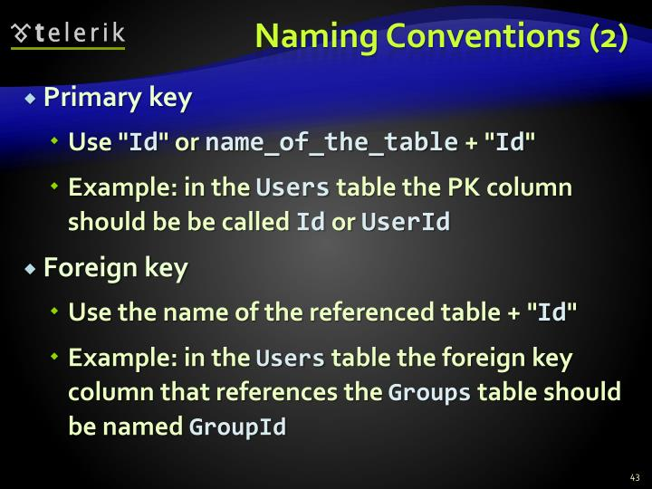 Naming Conventions (2)