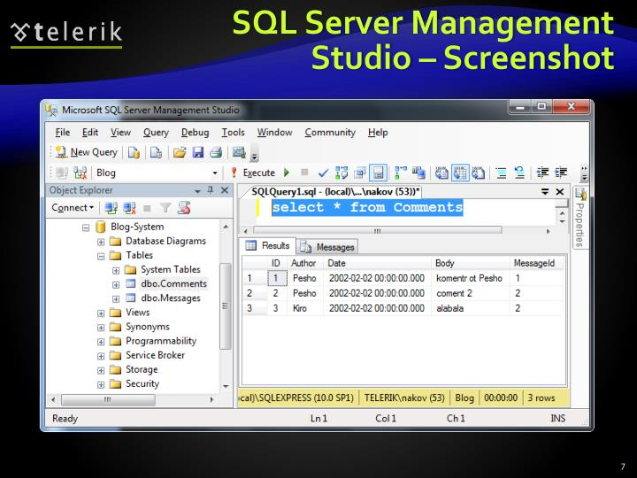 SQL Server Management Studio – Screenshot