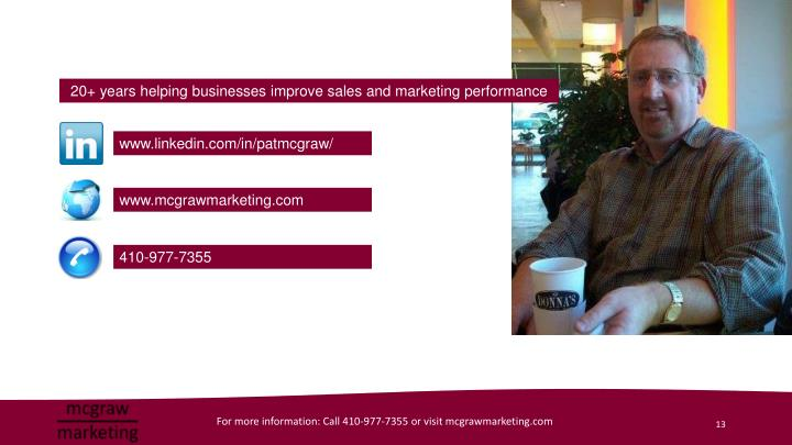 20+ years helping businesses improve sales and marketing performance