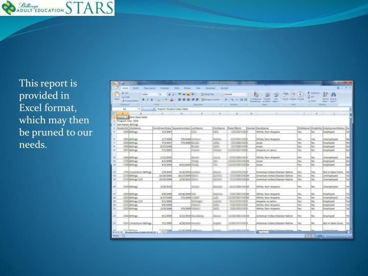 This report is  provided in Excel format, which may then be pruned to our needs.
