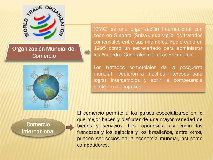 (OMC) es una organización internacional con sede en Ginebra (Suiza), que vigila los tratados comerciales entre sus miembros. Fue creada en 1995 como un secretariado para administrar los Acuerdos Generales de Tasas y Comercio,