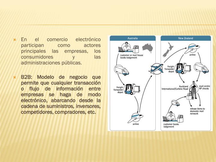 En el comercio electrónico participan como actores principales las empresas, los consumidores y las administraciones públicas.