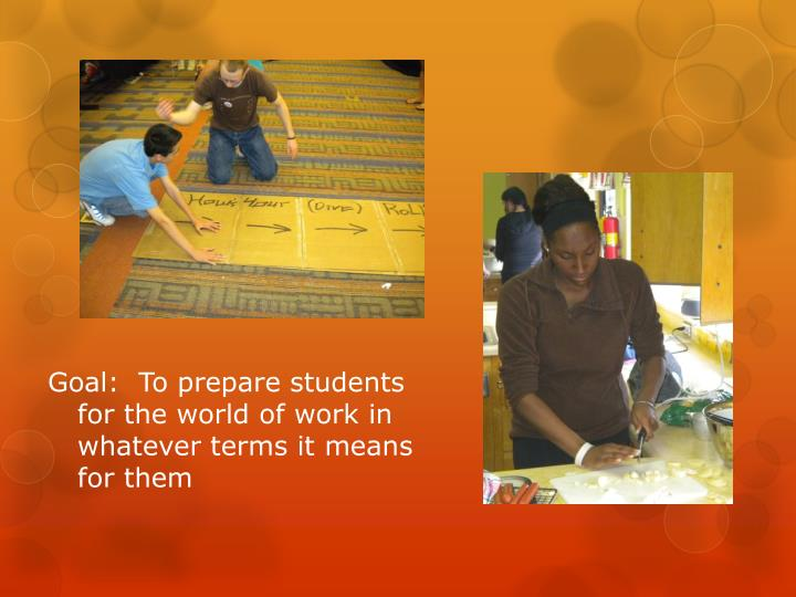 Goal:  To prepare students for the world of work in whatever terms it means for them