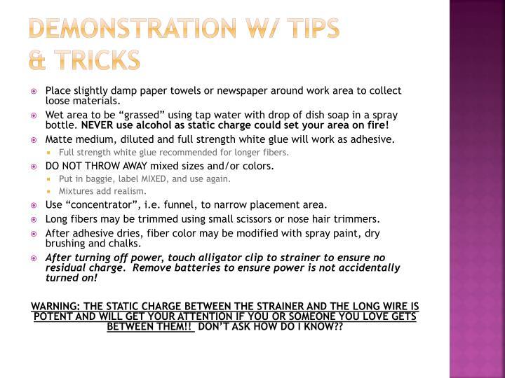 DEMONSTRATION w/ tips & tricks