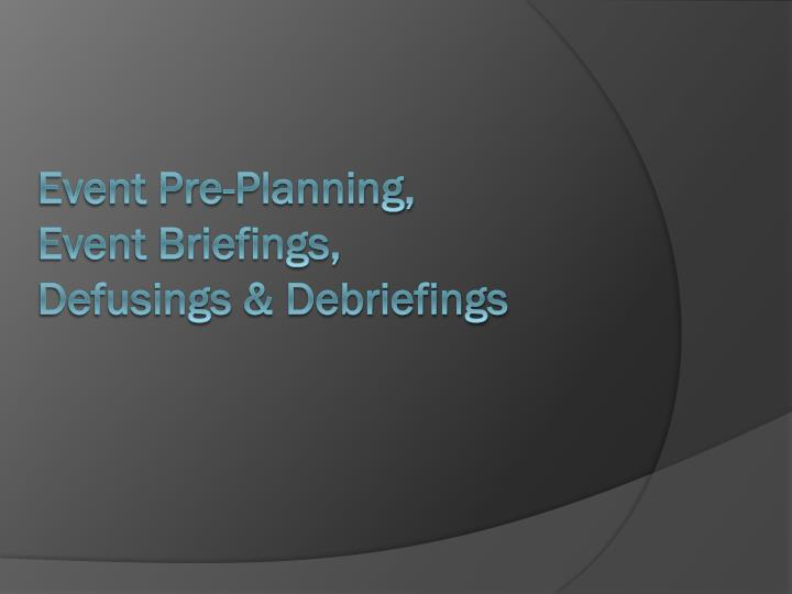 Event Pre-Planning,