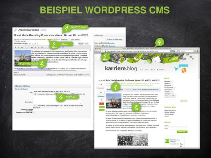 Beispiel Wordpress CMS