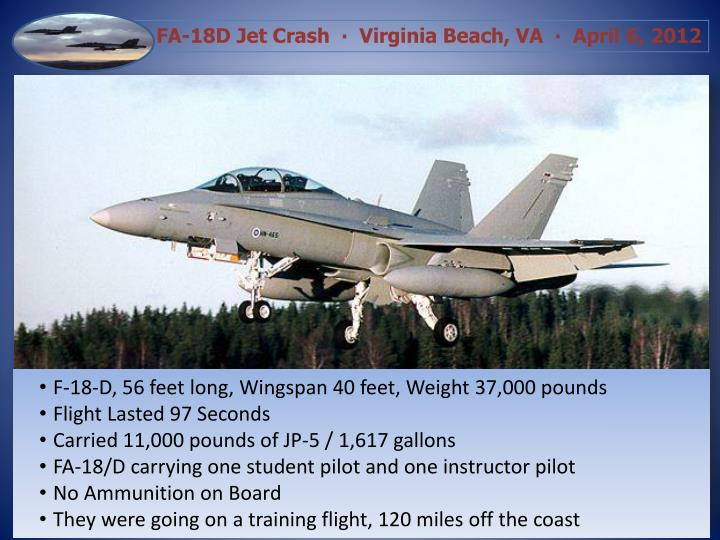 F-18-D, 56 feet long, Wingspan 40 feet, Weight 37,000 pounds