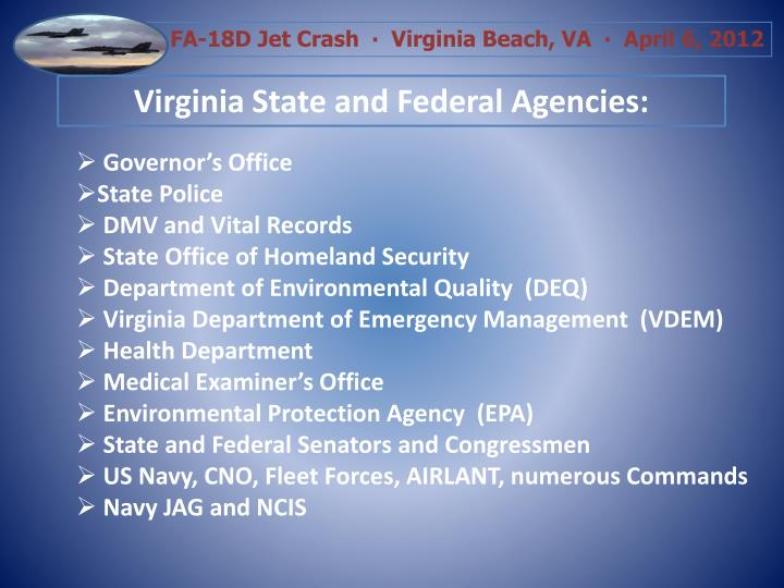 Virginia State and Federal Agencies: