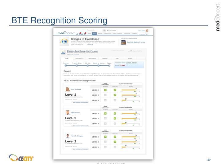 BTE Recognition Scoring