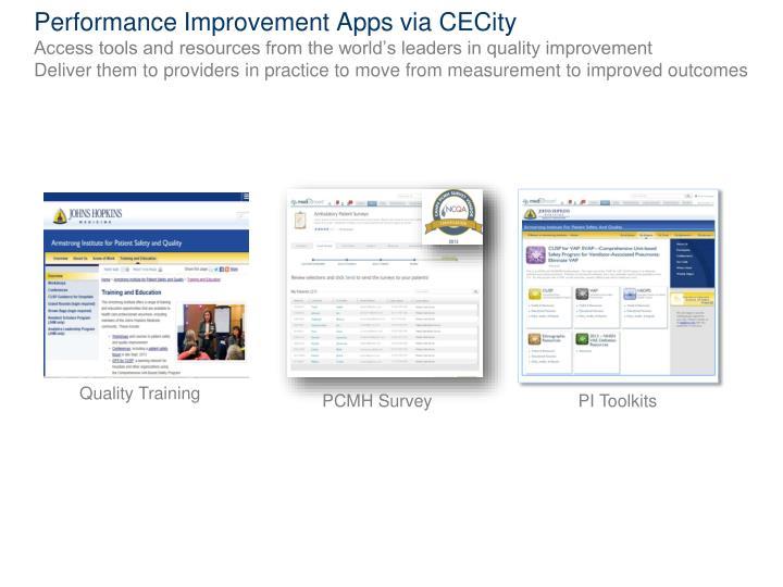 Performance Improvement Apps via CECity