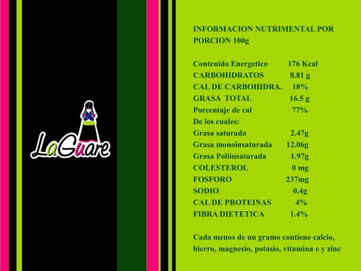 INFORMACION NUTRIMENTAL POR PORCION 100g