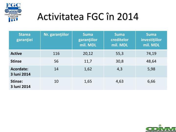 Activitatea FGC în 2014