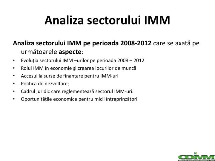 Analiza sectorului IMM