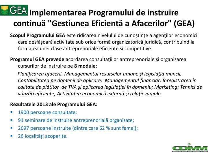 """Implementarea Programului de instruire continuă """"Gestiunea Eficientă a Afacerilor"""" (GEA)"""