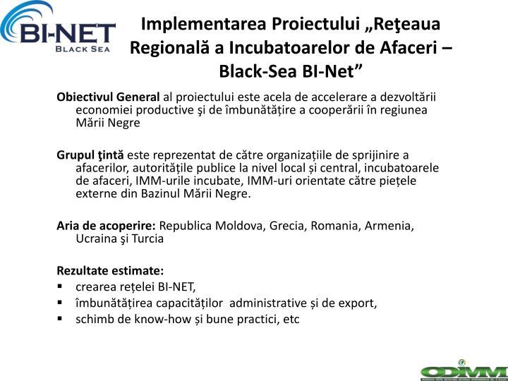 """Implementarea Proiectului """"Reţeaua Regională a Incubatoarelor de Afaceri – Black-Sea BI-Net"""""""