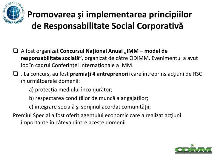 Promovarea şi implementarea principiilor