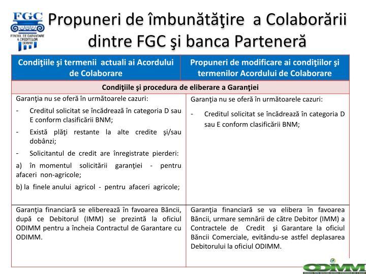 Propuneri de îmbunătăţire  a Colaborării dintre FGC şi b