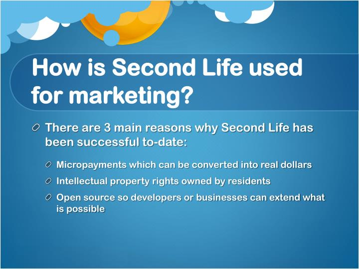 How is Second Life used for marketing?