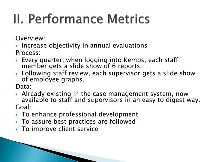 II. Performance Metrics