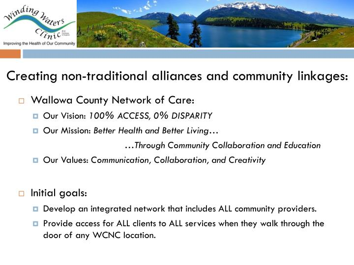 Creating non-traditional alliances and community linkages: