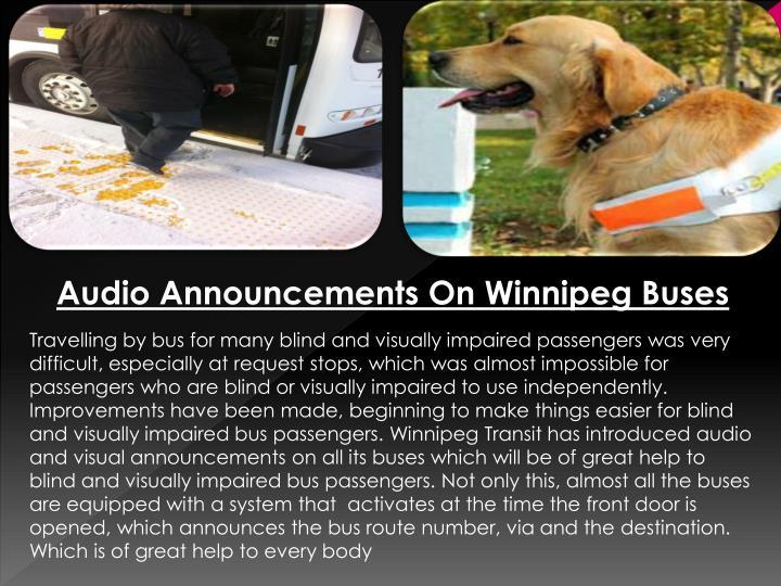 Audio Announcements On Winnipeg Buses