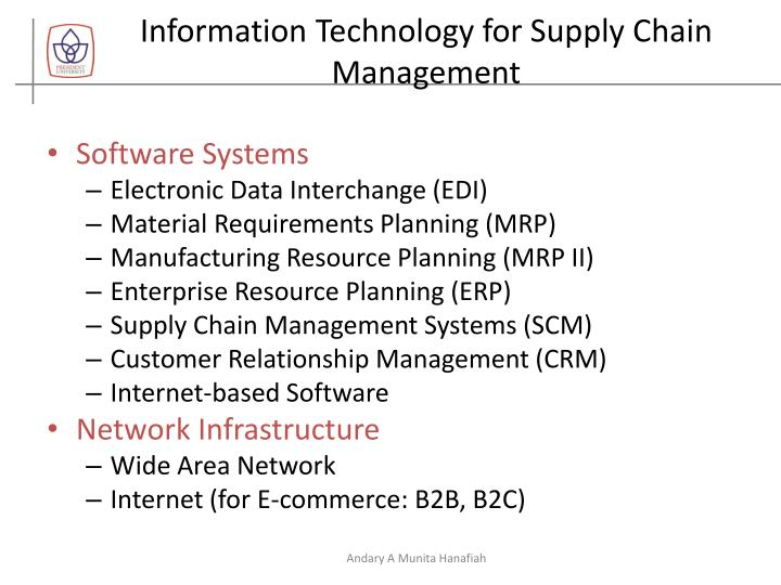 Information Technology for Supply Chain Management