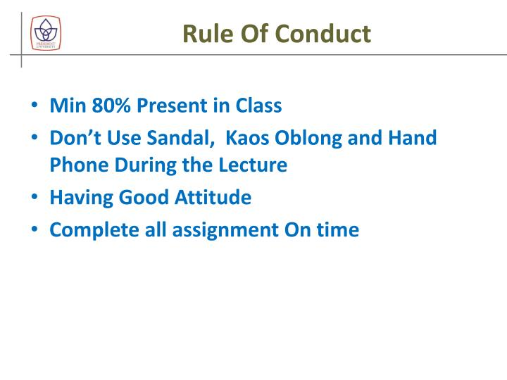 Rule of conduct