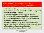 in this task 1 for design outcome 3 you will undertake these 6 activities