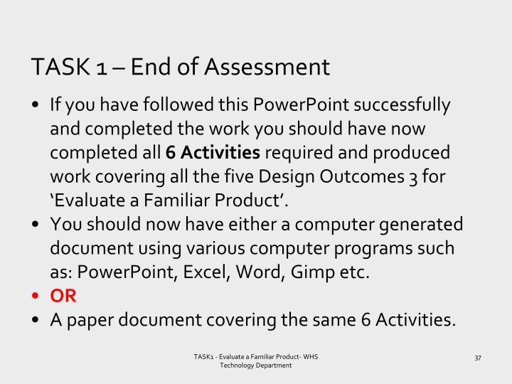 TASK 1 – End of Assessment