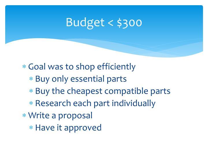 Budget < $300