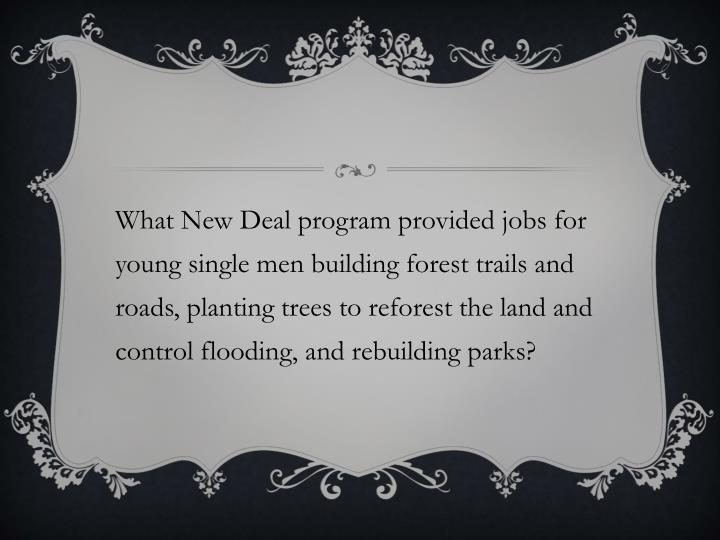 What New Deal program provided jobs for young single men building forest trails and roads, planting trees to reforest the land and control flooding, and rebuilding parks?