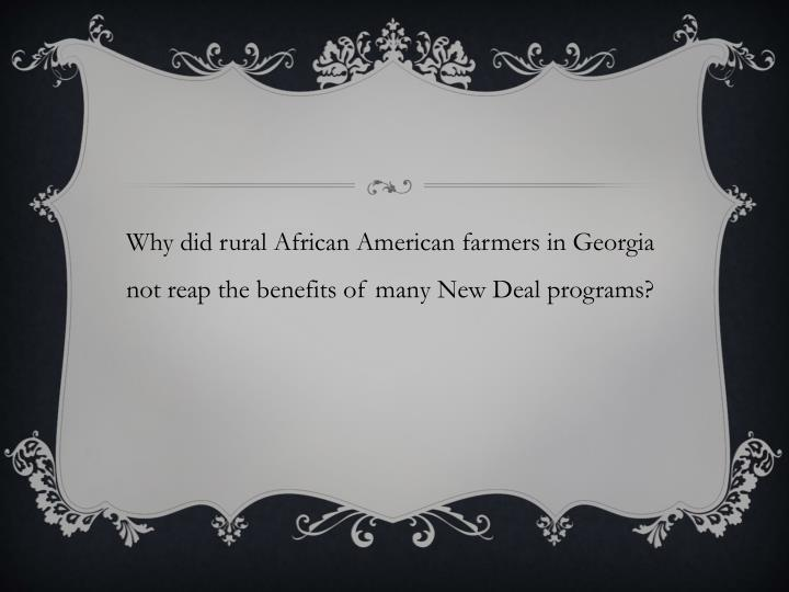Why did rural African American farmers in Georgia not reap the benefits of many New Deal programs?