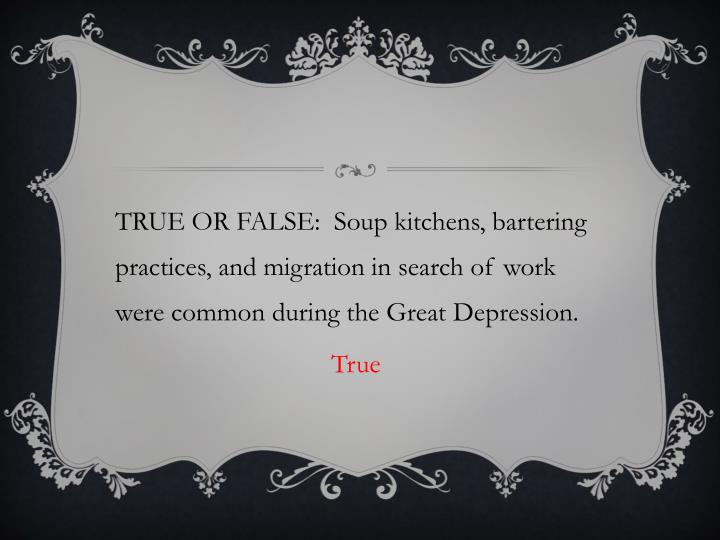 TRUE OR FALSE:  Soup kitchens, bartering practices, and migration in search of work were common during the Great