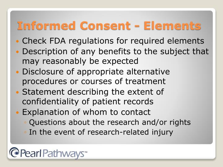 Check FDA regulations for required elements