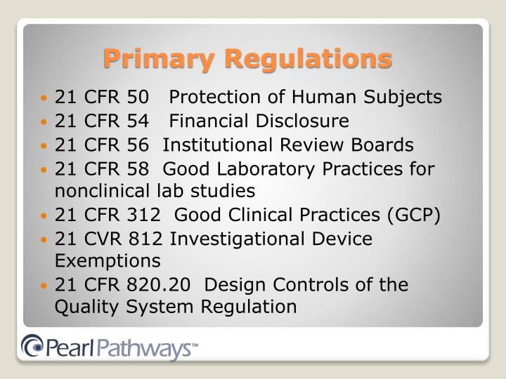 21 CFR 50   Protection of Human Subjects