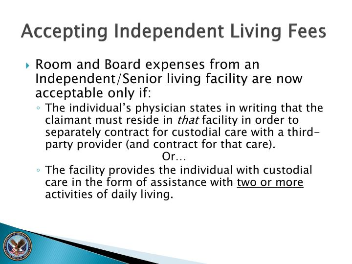 Accepting Independent Living Fees