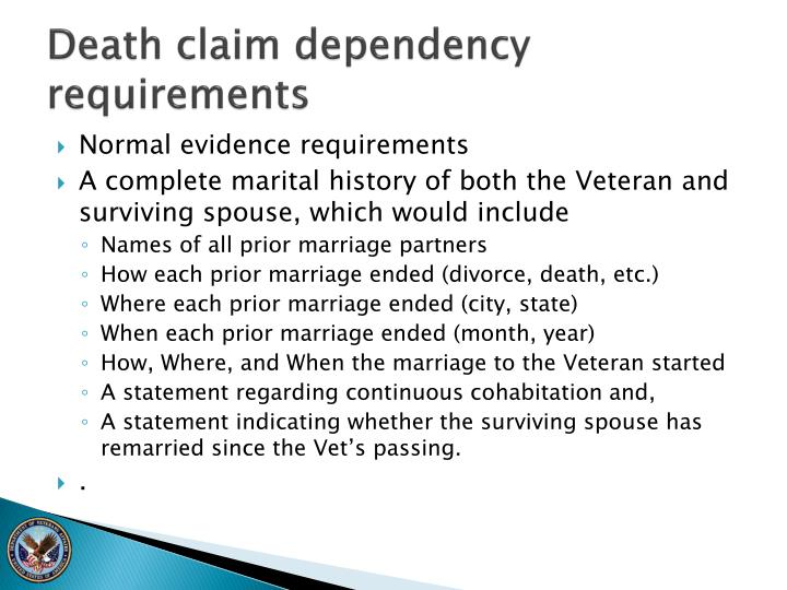 Death claim dependency requirements