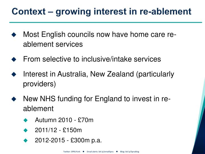 Context growing interest in re ablement
