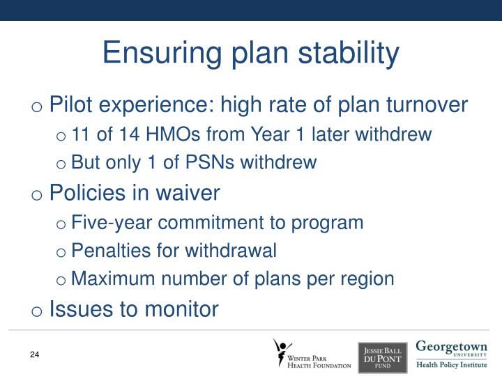 Ensuring plan stability