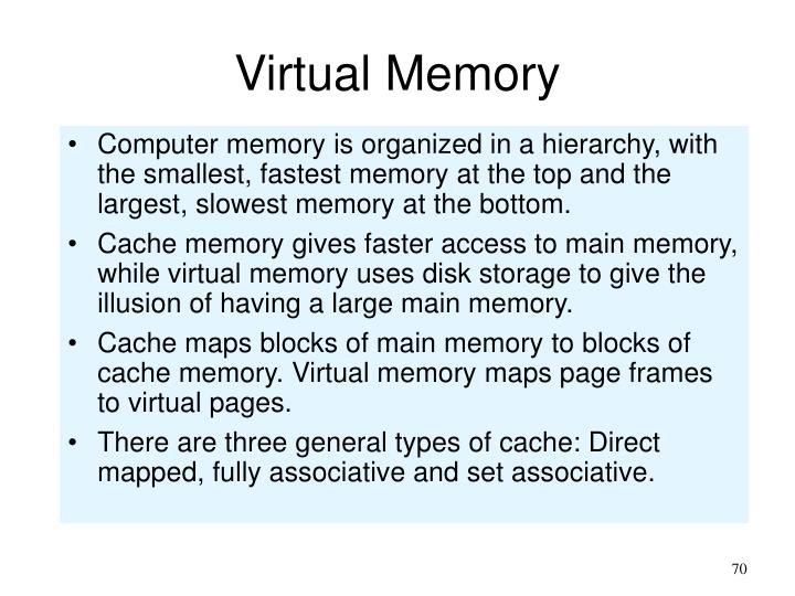 Computer memory is organized in a hierarchy, with the smallest, fastest memory at the top and the largest, slowest memory at the bottom.