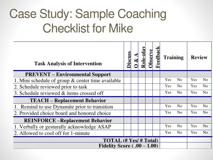 Case Study: Sample Coaching Checklist for Mike