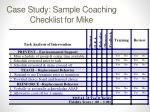 case study sample coaching checklist for mike