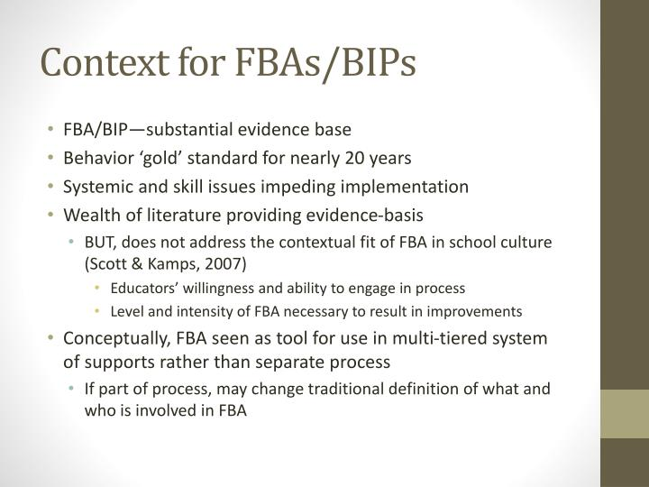 Context for FBAs/BIPs