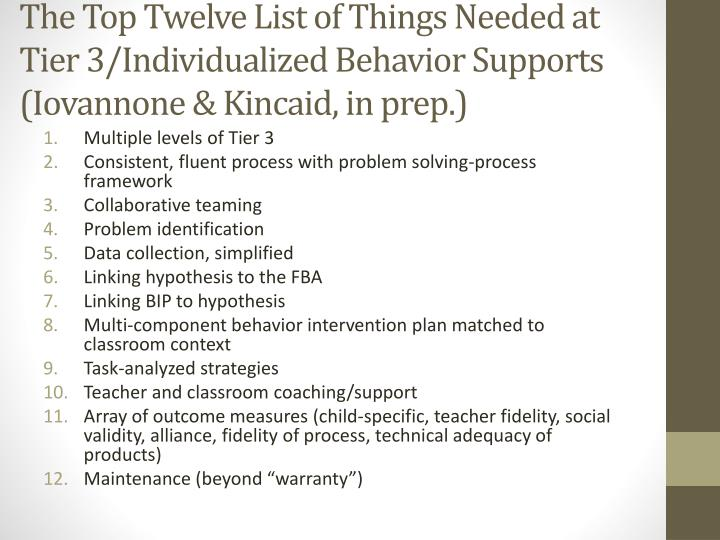 The Top Twelve List of Things Needed at Tier
