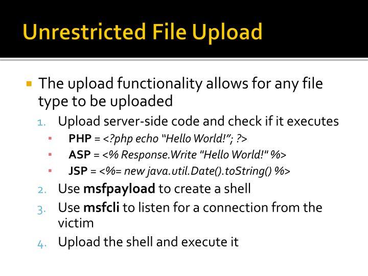 Unrestricted File Upload