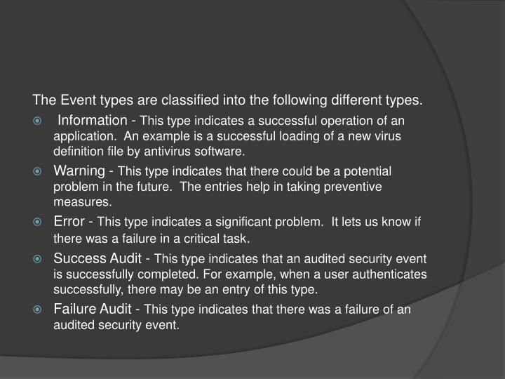 The Event types are classified into the following different types.